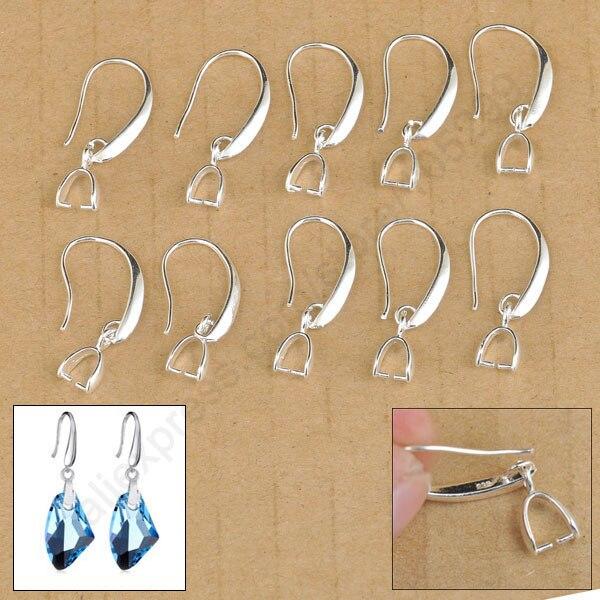 20PCS 925 Sterling Silver Jewelry Findings Hook Earring Pinch Bail Ear 0