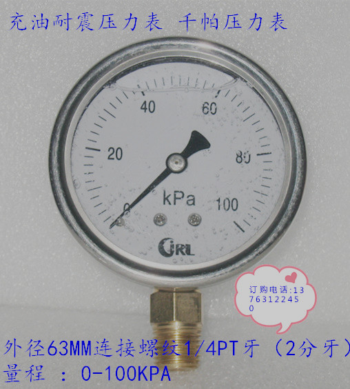60MM Vertical 0 100KPA Oil filled Seismic Kpa Pressure Gauge with Stainless Steel Shell Power Tool Accessories     - title=