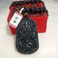 Zheru Jewelry Pure Natural Jade Carved Black Dragon King Pendant with Black Jade Bead Necklace A level National Certificate