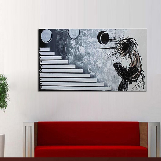Black and white color abstract portrait play ball canvas wall picture cheap modern canvas art abstract