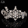 vintage tiara for women party wedding hair accessories bride crown fashion jewelry Austrian crystal 585 gold plated diadem HF033