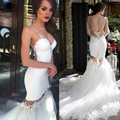 Exquisite Appliqued Mermaid Wedding Dresses 2017 Backless Two Piece Beach Bridal Gown Detachable Train Vestido De Noiva LL12