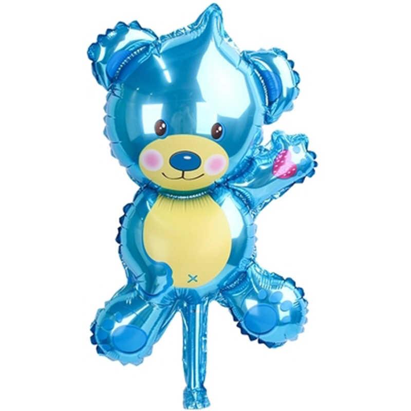 Mini balão de urso de pelúcia, balão de hélio azul para decoração de festas, aniversário, marrom, rosa e azul