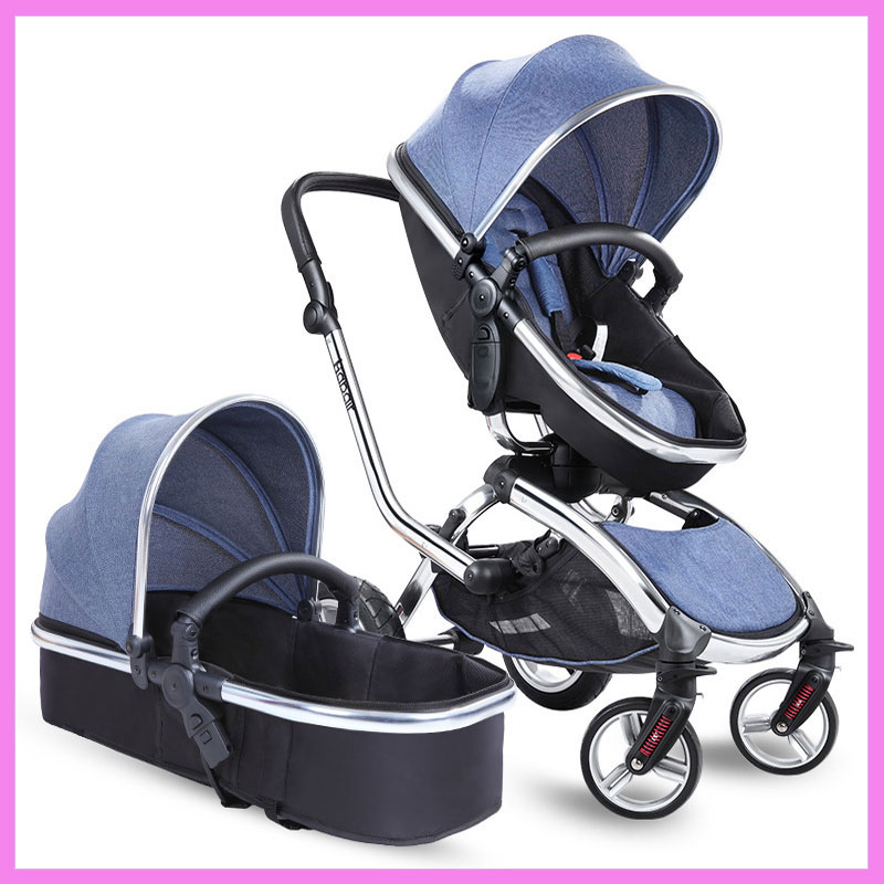360 Degree Swivel Seat Baby Stroller 2 In 1 European High Landscape Baby Car Seat Newborn Baby Carriage Large Wheels Shockproof