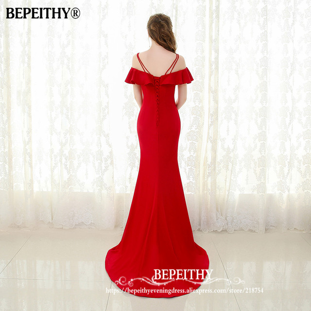 BEPEITHY 2019 Mermaid Long Evening Dress Spaghetti Straps Vestido De Festa Sweep Train Vintage Prom Party Gowns 2