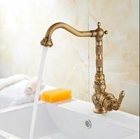 Free Shipping Fashion Europe Style Total Brass Bronze Finished Carved Kitchen Faucet Swivel Tall Kitchen Mixer