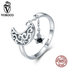 VOROCO 2019 Fashion 925 Sterling Silver Moon Stars Zirconia Rings For Women Wedding Engagement Party Fine Luxury Jewelry BKR479