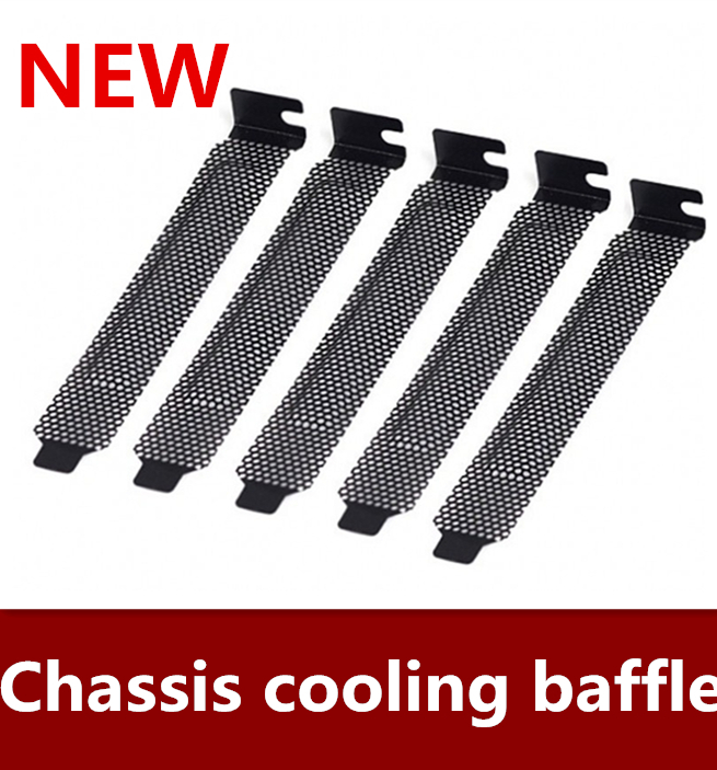 NEW 10pcs/lot Computer chassis PCI bit radiating dustproof ventilation baffle black metal punching baffle Free shipping