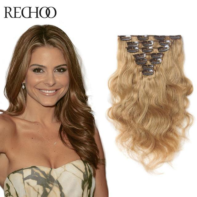 Clip In Real Human Hair Extensions Blonde Womens Hair Extensions