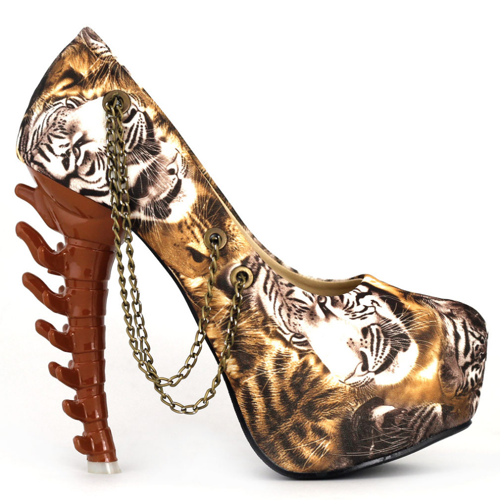 ФОТО LF80608 Ladies BOHO Tiger Gold Chain Hidden Platform Bone Heel Pump