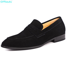 New Brand Mens Suede Dress Shoes Genuine Leather High Quality Cow Casual Luxury Business Slip On