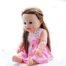 Soft Silicone Reborn Baby Toys Long Hair Reborn Doll Lifelike 45cm Girls Doll With Dress Kid Christmas Birthday Surprise Gifts bjd doll fashion marry wedding bride doll long hair white clothes kid s toys christmas gifts toys