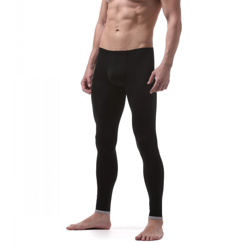 Sexy Male Underpants Men's Long Johns Leggings Sleep Bottom Ice Silk Translucent Pajamas Lounge Tight Thermal Trousers