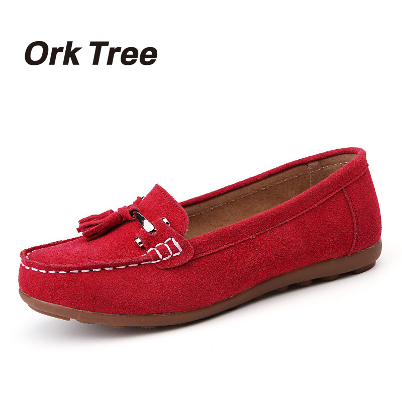 Ork Tree 2017 Autumn Cow Suede Shoes Women Flats Loafers Red Fashion Slip On Ladies Flat Shoes Moccasins zapatos mujer 25 women flat platform loafers ladies elegant suede moccasins shoes woman slip on moccasin women s casual shoes zapatos mujer flats