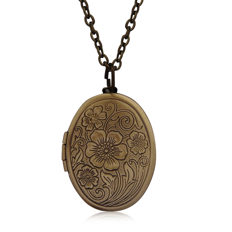 Locket Pendant Jewelry Photo-Box Necklace Women Ancient Carved-Flower Opening Brass Vintage