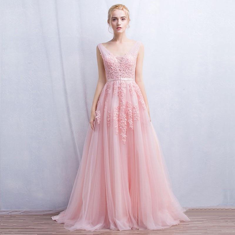 127aad3ad3 Vestidos de dama de honor Larga Con Cuello En V Apliques de Tul Rosa Azul  Marino Dama De Honor Y Vestido de Adulto Para Las Damas de Honor de La Boda  ...