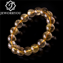 100% Gold Rutilated Quartz Bracelets 6-12mm Yellow Crystal For Women Jewelry Rutile Men