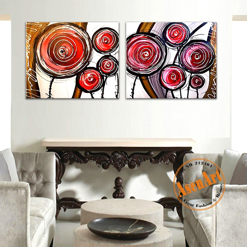 100% Hand-painted 2 Panels Oil Painting Modern Abstract Circle Flower No Framed Wall Art Original Decorative painting Home Decor