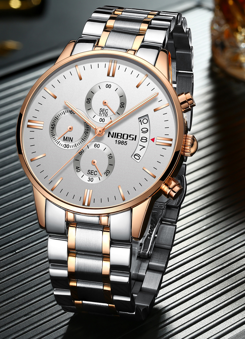 2018 NIBOSI Gold Quartz Watch Top Brand Luxury Men Watches Fashion Man Wristwatches Stainless Steel Relogio Masculino Saatler    (23)