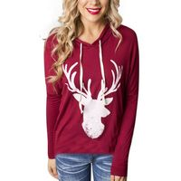 Women Loose Long Sleeve Deer Christmas Tee Autumn Sweatshirts Tops Xmas Hoodies Plus Size