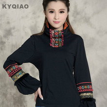 KYQIAO 2017 winter original vintage design pullover women's ethnic embroidered turtleneck t-shirt L-3XL black t shirt top blusa