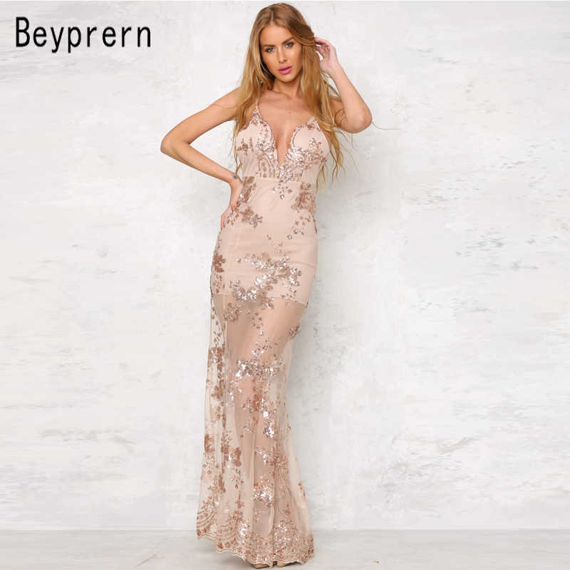 Beyprern Elegant Deep V Neck Sequin Floral New Years Eve Party Maxi Dress  Sexy Backless Gold 667ad41a82f9