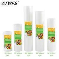 ATWFS 5 rollos/lote de bolsas de almacenamiento de alimentos de cocina al vacío para sellador al vacío comida fresca larga mantenimiento 12 + 17 + 20 + 25 + 28 cm * 500 cm