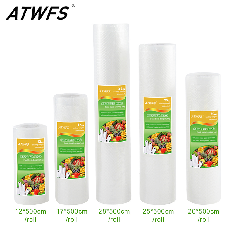ATWFS 5 Rolls/Lot Kitchen Food Vacuum Bag Storage Bags For Vacuum Sealer Food Fresh Long Keeping 12+17+20+25+28cm*500cm