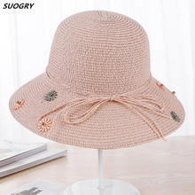 SUOGRY Floppy Straw Hat Large Brim Sun Women Summer Beach Cap Big Foldable Fedora Hats For