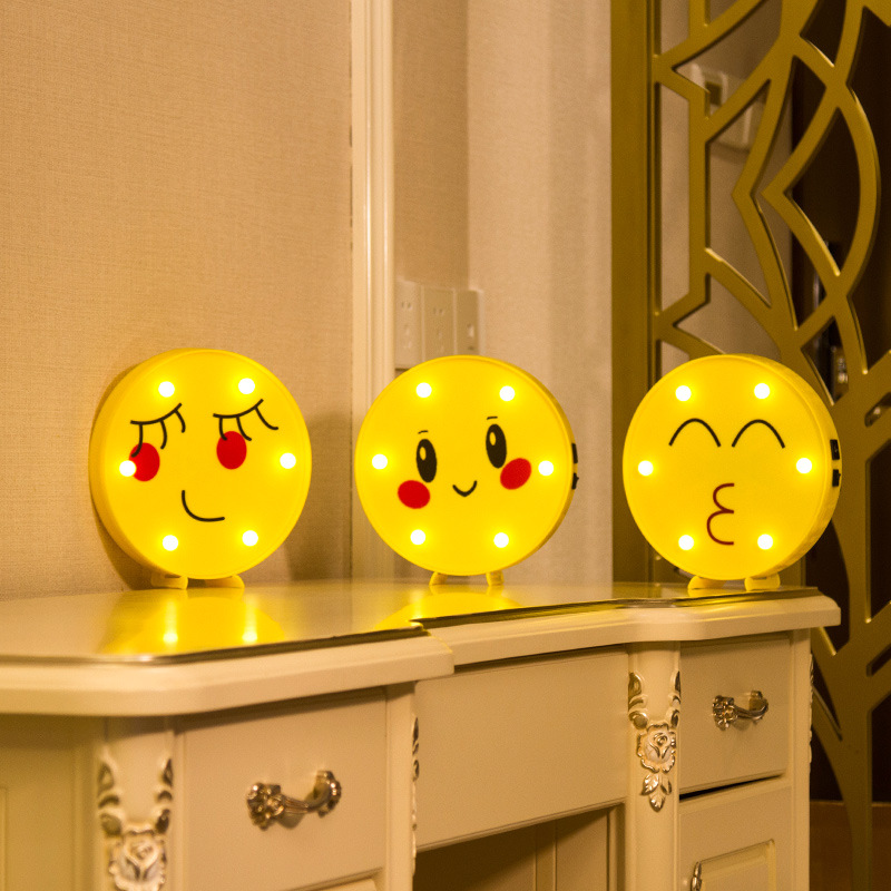 3D Decorative Night Lights Emoji Holiday Lamp Smile Face Desk Lighting For Baby Kid Child Bedroom Decoration XMAS Gift IY304130