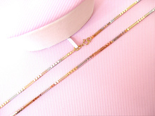 Multi-tone 18K Gold Necklace for Women Yellow White Rose Multi-color Box Chain Necklace for Pendant Jewelry Fashion Jewellery