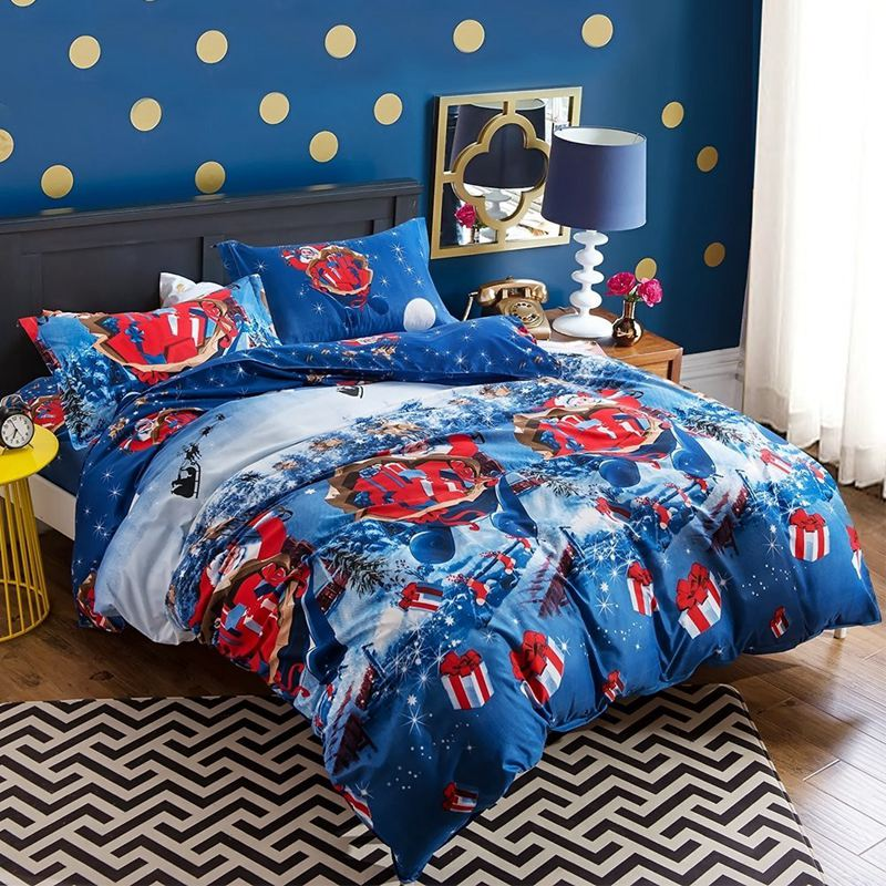 New Christmas Bedding Set Cartoon Printed Santa Claus and Elk Blue Santa 2-3Pcs Duvet Cover and Pillowcase healthy soft for baby