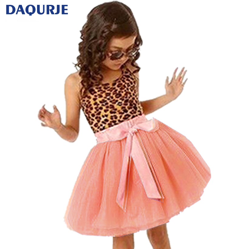 New Europe Summer Kids Girl dress Leopard Cotton Girls clothes Princess Dresses tutu party children clothing Girls Dress costume