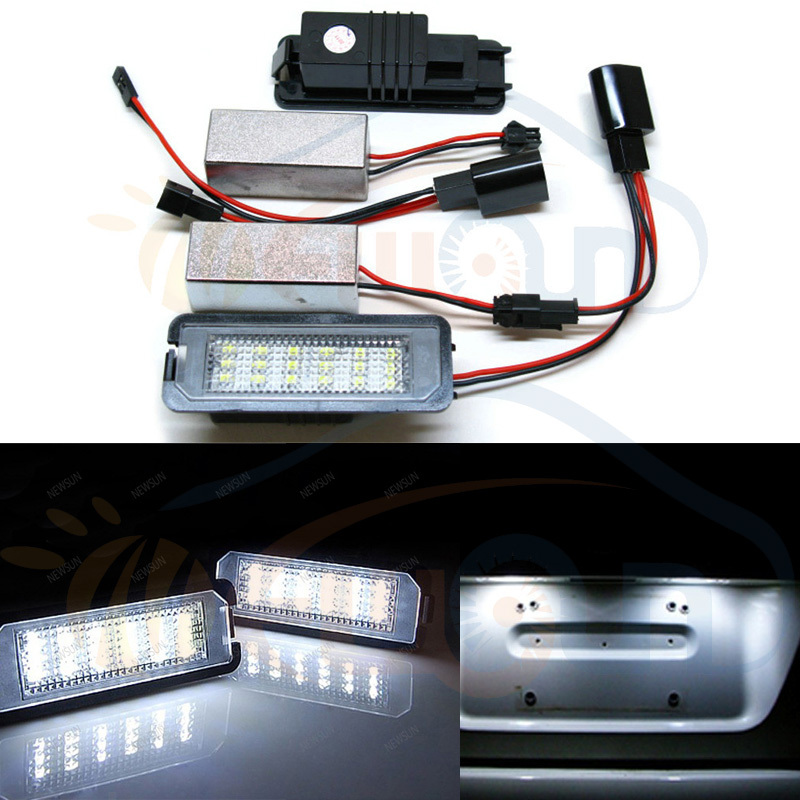 Auto Led License Plate Lamp for VW Golf 5 Golf 6 car number license plate light with 2 decoders Error Free license plate lights  qook 2piece car error free led license number plate light lamp for porsche vw golf polo passat seat number plate lamp