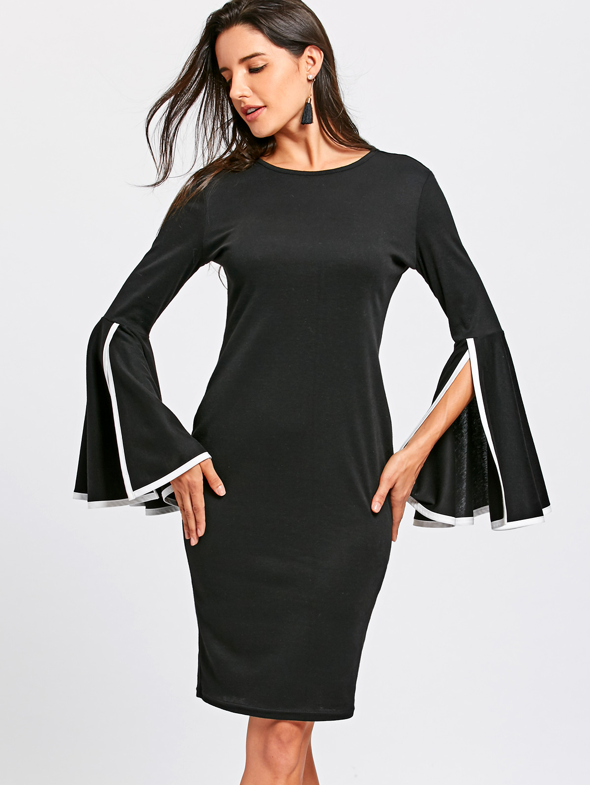VESTLINDA Women Bobycon Dress Split Round Collar Flare Long Sleeve Pencil  Dresses Winter Elegant Black Midi Vestidos De Festa-in Dresses from Women s  ... be08782503d8