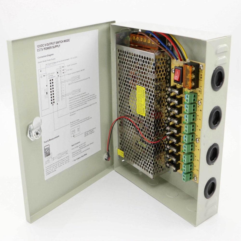 9ch AC100-240V para dc12v 10a 120 w led driver caixa de alimentação adaptador transformador para cctv câmera de segurança led tira luz da corda