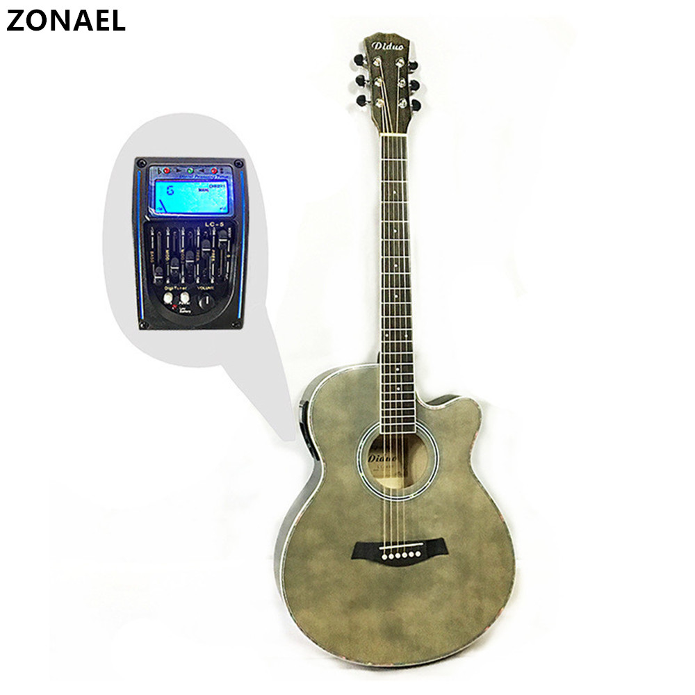 ZONAEL 40 Inch High Quality Acoustic Guitar Folk Guitar With Five Segment Equilibrium EQ Rosewood Fingerboard Basswood Guitarra joyo eq 307 folk guitarra 5 band eq acoutsic guitar equalizer high sensibility presence adjustable with phase effect and tuner