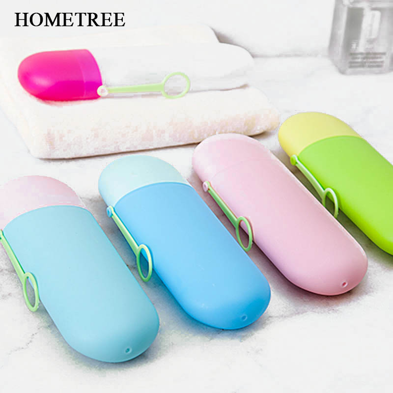 HOMETREE Candy Color Portable Toothbrush Box Bath Product Protect Toothbrush Case Holder Camping Case Cover Travel Box Tube H774 in Toothbrush Toothpaste Holders from Home Garden