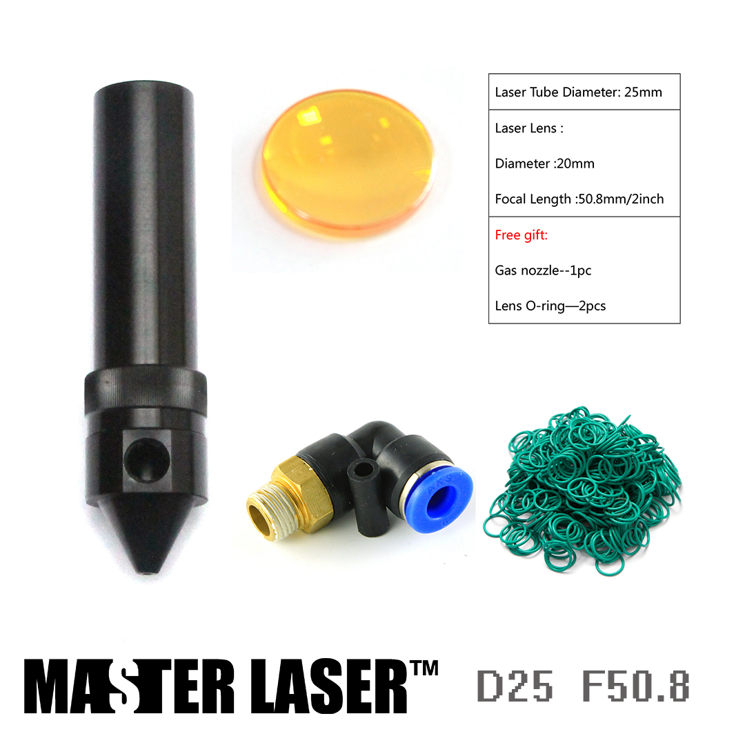 Laser Lens Dia 20mm FL50.8mm And With Air Assistant Laser Head Tube For 25mm CO2 Cutting Machine Laser Head Pen Tube