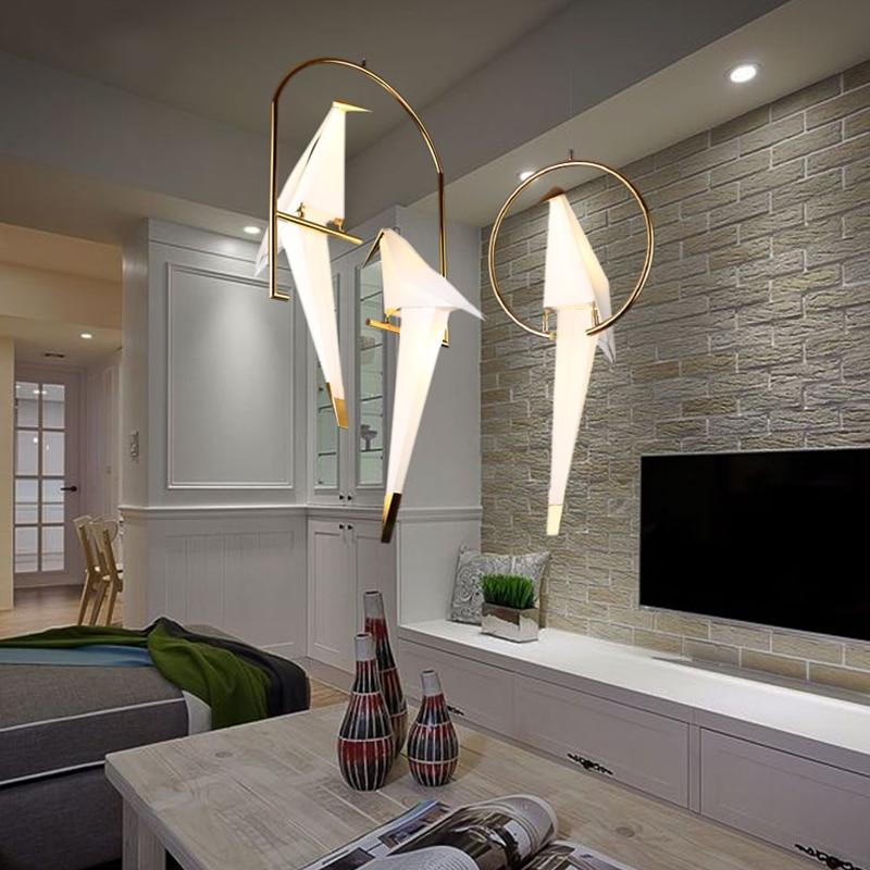 Ikvt moderno papel guindaste lustre de metal para restaurante sala de estar sala de jantar quarto das crianças led design pássaro pingente lâmpada - 5
