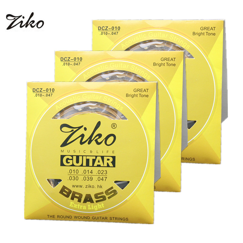Ziko Acoustic Guitar Strings Set 010 011 012 The Round Brass Acoustic Wound Guitar Strings DCZ 10/11/12 2sets amola acoustic guitar strings set 010 012 011 pure copper steel 010 047 acoustic wound guitar 1 6th string musical instruments