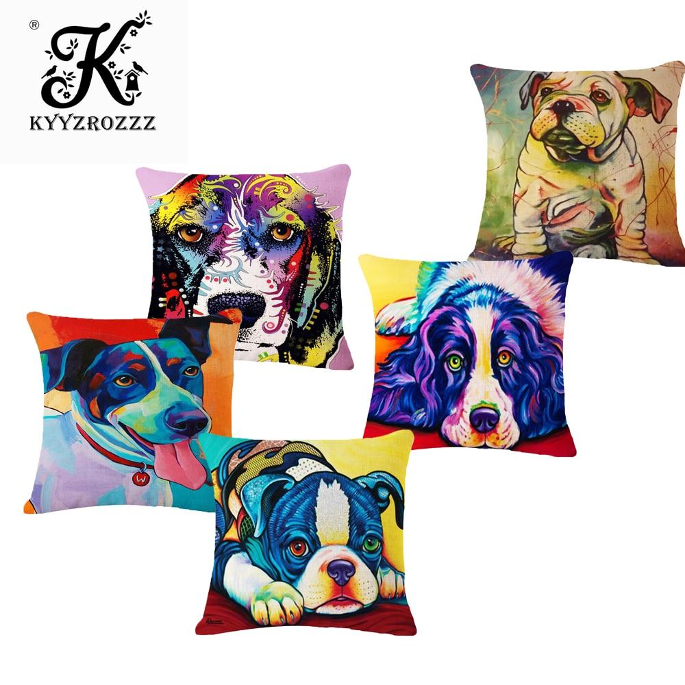 फैशन उच्च गुणवत्ता वाले पानी के रंग का पेंटिंग कुत्ता फ्रेंच बुलडॉग कार सजावटी फेंक तकिया मामले तकिया कवर सोफा घर की सजावट