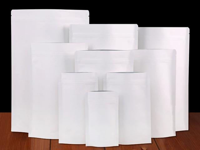 50pcs Lot Stand Up Kraft Paper Aluminum Foil Bag Zipper Doypack Packaging Pouch Food Tea