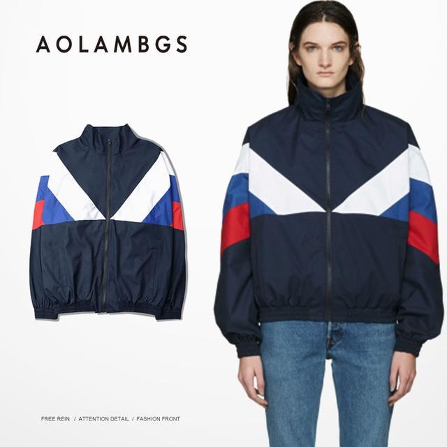 Men Jacket Gosha Rubchinskiy Classic Navy Tricolor Long sleeve Windbreaker Jackets Hiphop Skateboards Couples Outwear S-XL