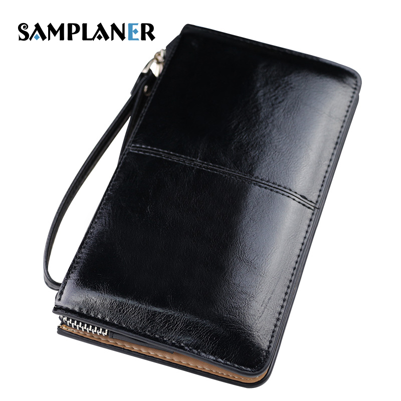 Samplaner Women Clutch Wallet Female Oil Wax Leather Wallets Casual Ladies Purse Multi-function Womens Phone Bag Burglar Robbed dollar price new european and american ultra thin leather purse large zip clutch oil wax leather wallet portefeuille femme cuir