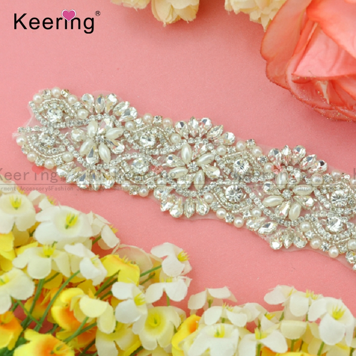 Luxury Handmade Pearl Crystal Rhinestone Beaded Trimming WRA 583