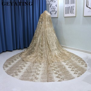 Image 5 - נוצץ זהב פאייטים נסיכת כדור שמלת חתונת שמלות 2020 דובאי ארוך שרוול מחוך ערבית חתונה שמלה עם 3M רעלות