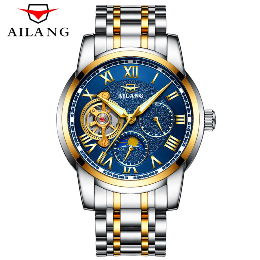 AILANG 2017 luxury brand Tourbillon military clock stainless steel men casual automatic mechanical watch fashion dress Watches цены