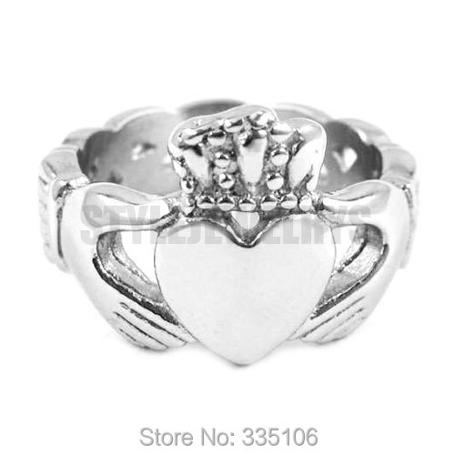 Free shipping! Irish Claddagh Style Hand to Hold a Heart with Crown Ring Stainless Steel Jewelry Celtic Knot Women Ring SWR0023 mariposa en plata anillo