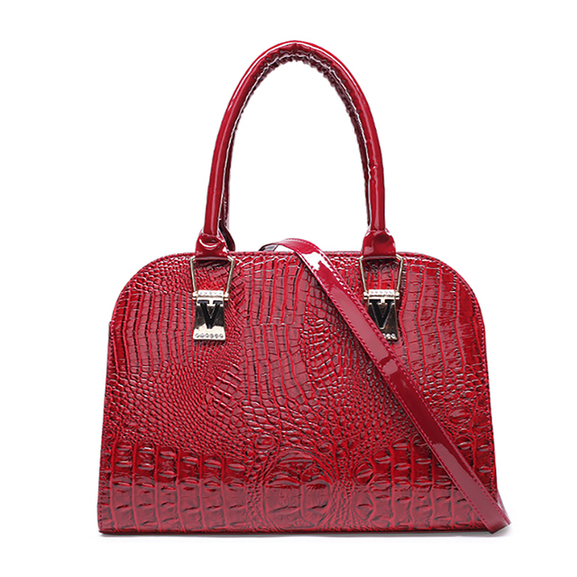 Fashion Shoulder Bags For Women 2018 Las Red Patent Leather Handbag Female Crocodile Shell Bag Solid